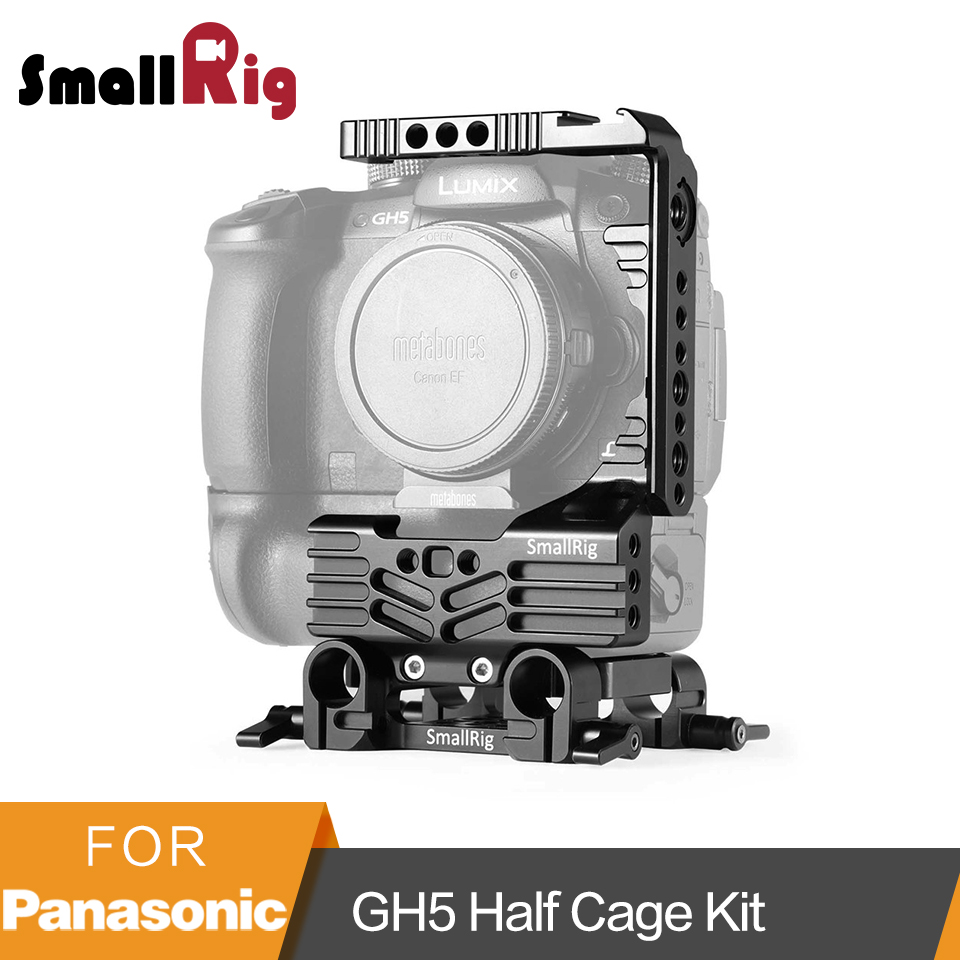 SmallRig GH5 Half Cage + Dual Rod Clamp Baseplate System Kit for Panasonic Lumix GH5 Camera Cage with Battery Grip -2024 panasonic lumix gh5