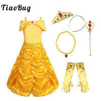17af2b5d09 TiaoBug Kids Girls Off Shoulder Ruched Fairy Tale Princess Halloween  Costume Cosplay Party Fancy Dress Glove