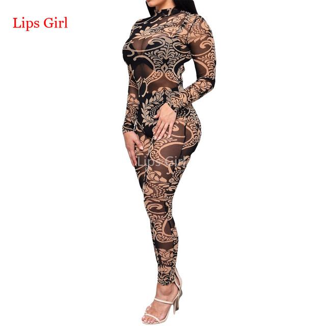 Jumpsuit Women Long Pants 2016 New Summer Style Mesh See Through Print Elegant Overalls Sexy Club Bodycon Plus Size Jumpsuits