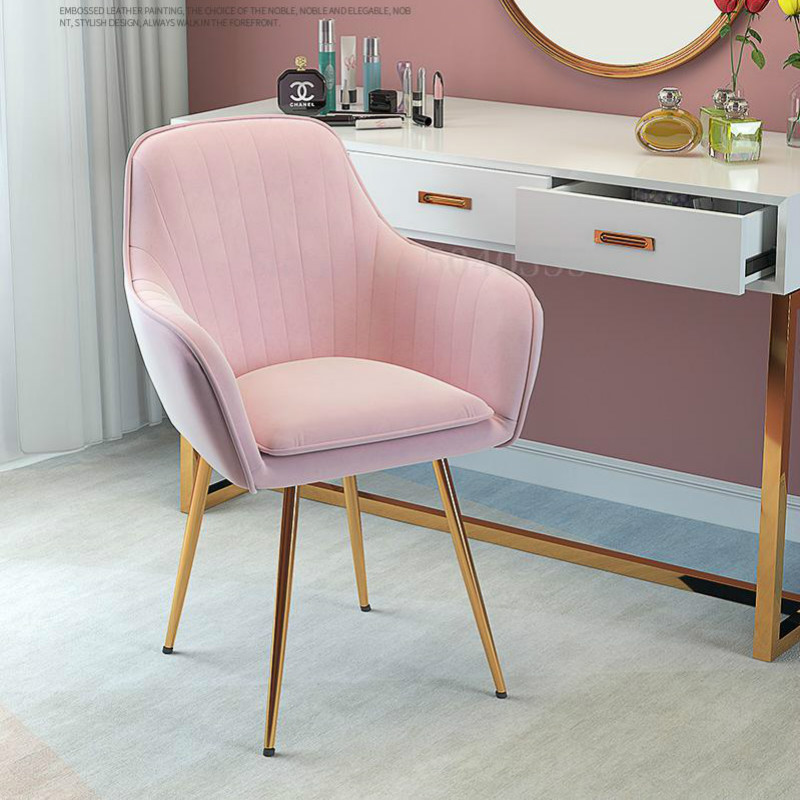 Nordic Luxury Dining Chair Net Red Nail Makeup Chair Tea Coffee Chair Home Designer Wrought Iron Home Study Bedroom Chair