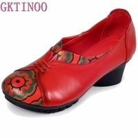 2017 Hakiki Deri Kadın Ayakkabı Bahar Sonbahar Yumuşak Kalın Topuk Kadın Pompalar Ayakkabı Boyutu 41