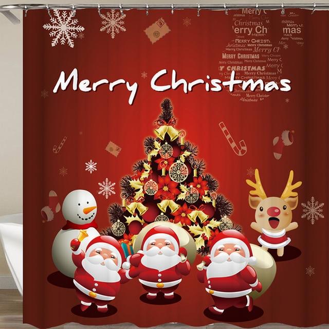 2018 New Santa Claus Merry Christmas Shower Curtain Anime Waterproof Fabric Kids Bathroom Curtains X