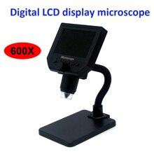 """600X 顕微鏡 usb デジタルビデオ顕微鏡カメラ 8 led vga 顕微鏡はんだと 4.3 """"hd oled スクリーン G600"""
