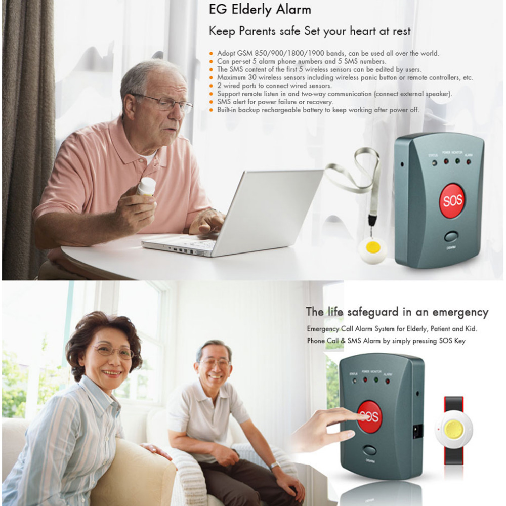 Image 5 - Wolf Guard 007EG Wireless GSM SMS Elderly SOS Button Panel One Key Alarm Elder Children Two Way Speaking for Home Alarm System-in Alarm System Kits from Security & Protection