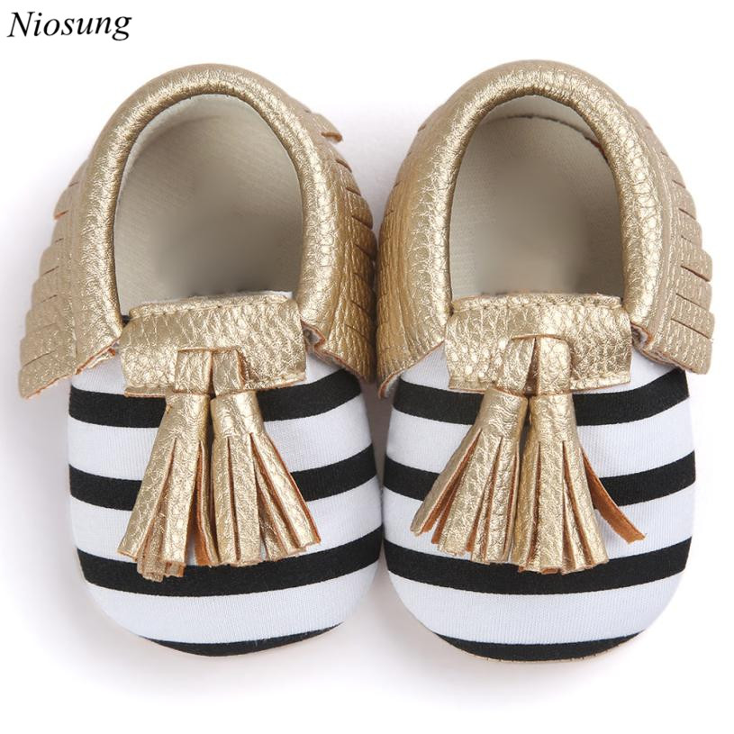 Niosung Infant Baby Crib Tassels Bowknot Shoes PU Leater Toddler Anti-slip Sneakers Casual Kids Newborn Shoes First Walkers