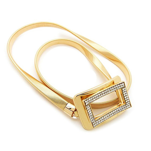 Mujer Elástica Cadena de Metal Rhinestone Cinturones Cinturones para  vestidos 3D Cuadrado Hebilla de Oro y 9e3b14ed284e