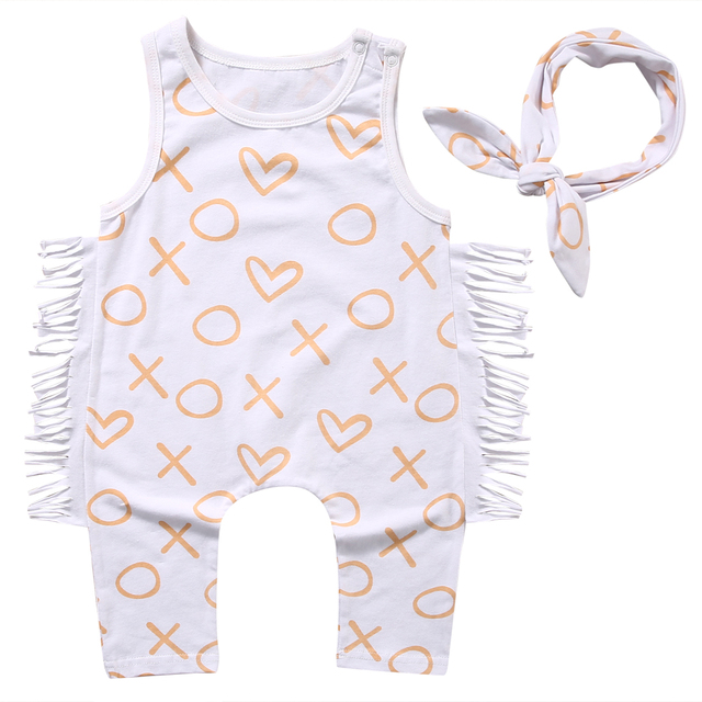 d2ab12680654 2pcs Newborn Baby Kids Girls Clothes Tassel Sleeveless Romper Jumpsuit+Headband  KIds Girls Cotton Summer Sunsuit Outfits