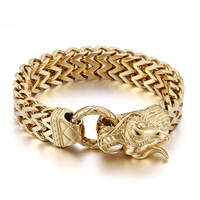 Heyrock Large Golden Dragon Head Stainless Steel Cross Braided Punk Bracelets Men 25CM Heavy Metal Jewelry