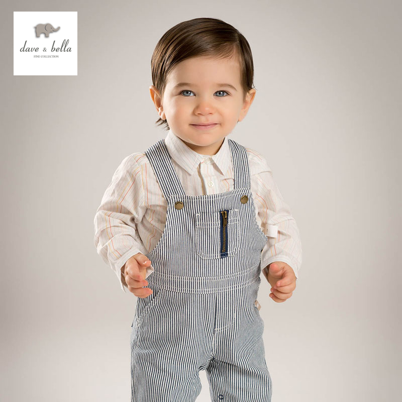 DB4618 dave bella baby boys striped overalls kid clothes fashion overalls dbz6974 dave bella spring baby girls fashion denim overalls children toddler clothes baby cute overalls