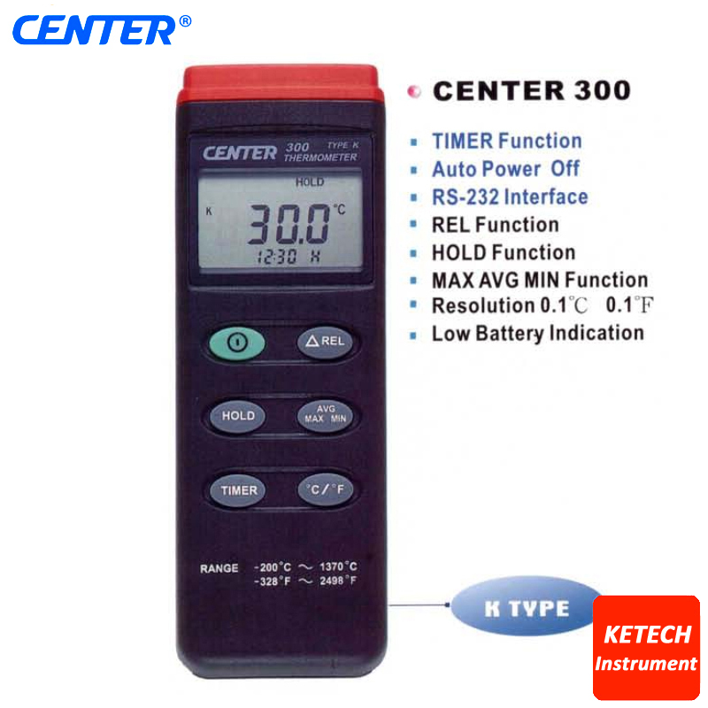 Digital Thermometer (K-type:-200-1370C) CENTER-300 center 307 digital compact low cost thermometer
