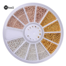 1 Box Steel Beads Nail Studs Gold Sliver Champagne 0.8mm/1.0mm/1.2mm/1.5mm Mixed 3D Nail Art Decorations In Wheel Manicure DIY