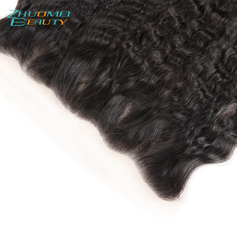 Zhuomei BEAUTY Peruvian Kinky Straight 13*4 Ear To Ear Lace Frontal Closure With Baby Hair Free Part Remy Human Hair 10-20inch