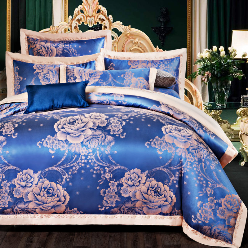 Queen King size embroidery Jacquard bedding set for wedding 100% cotton stain duvet cover set bed sheet+duvet cover+ pillowcaseQueen King size embroidery Jacquard bedding set for wedding 100% cotton stain duvet cover set bed sheet+duvet cover+ pillowcase