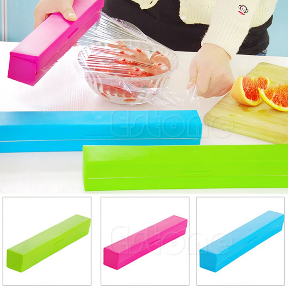 3 Colors Food Plastic Cling Wrap Dispenser Preservative Film Cutter Kitchen Tool Accessories Cooking Tools