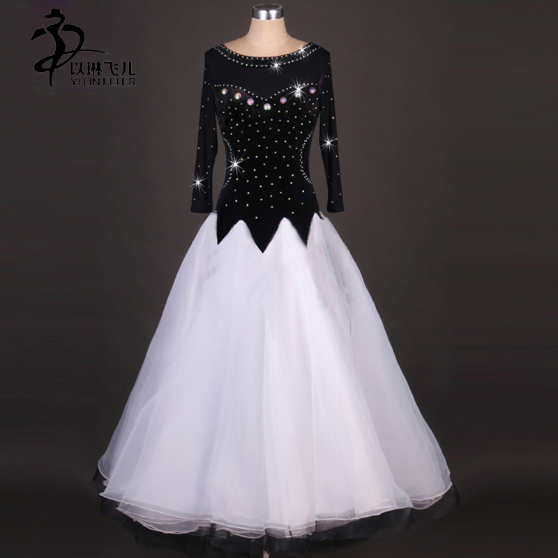 FREE SHIPPING Ballroom latin dress for women competition dance dresses Tango Waltz white Dance costume for women