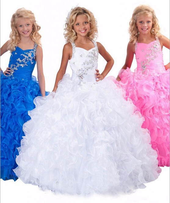 2015 Beaded White Blue Pink Ball Gown First Communion   Flower     Girl     Dresses   For Weddings Kids Children Pageant   Girl   Prom   dress