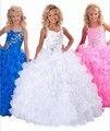 2015 Frisado Branco Azul Rosa vestido de Baile Primeira Comunhão Da Menina de Flor Vestidos Para Casamentos Crianças vestidos Crianças Pageant Girl vestido de Baile