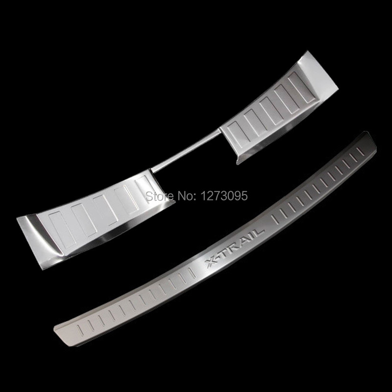 Stainless Steel Rear Bumper Trunk Threshold Door Sill Protector Cover Trim for Nissan X-Trail T32 Rogue 2014 2015 Car Accessory 2014 2015 for nissan rogue x trail rear tail licence plate cover trim trunk frame cover trim chrome