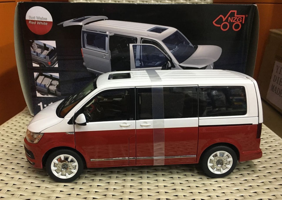 NZG Model 9541/10 Volkswagen VW T6 Generation Six Red/White 1:18 Scale