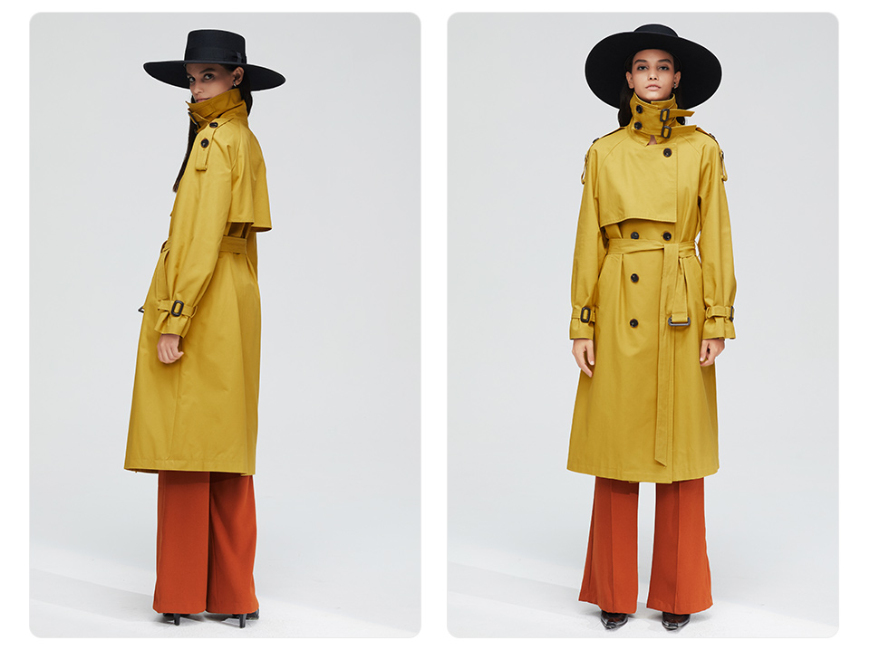 JAZZEVAR 19 New arrival autumn top trench coat women double breasted long outerwear for lady high quality overcoat women 9003 14