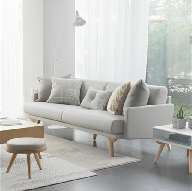 Solid wood Leather sofa small apartment sofa combination three seats ...