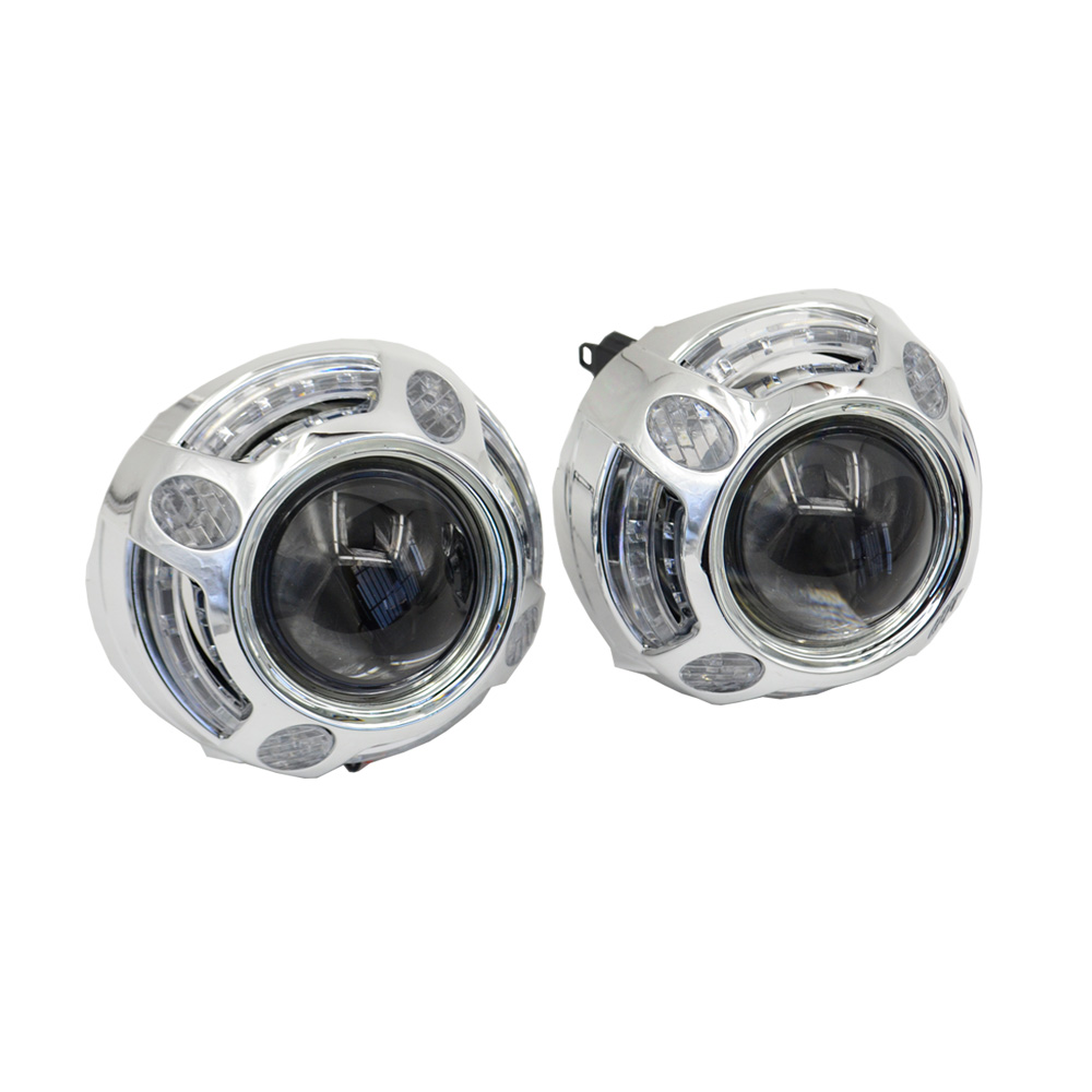3.0 inch hid Projector lens with led day running angel eyes car Bi xenon hid xenon kit metal H1 H4 H7 hid projector lens safego 2 5 inch projector lens mask shroud with double angel eyes for car hid headlight headlamp projector lens for h1 h7 h4