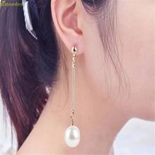 HOT Brand High Quality Fashion OL Womens Imitation Pearl Ear Stud Pearl Long Earring