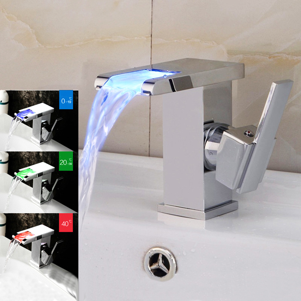 LED RGB Colors Basin Sink Faucet Deck Mount Waterfall Brass Bathroom Vessel Sink Mixer Tap Chrome Finish water power faucet temperature controlled 3 colors led waterfall basin tap brass chrome bathroom faucet b 9001