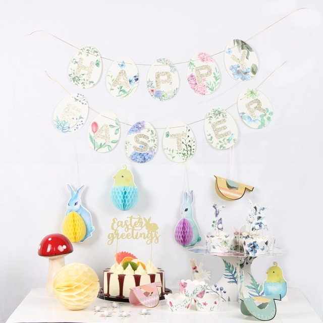 Vintage Easter Decorations Set For Home Party Supplier Rabbit Honeycomb  Balls Pigeon Banner Hang Cupcake Happy