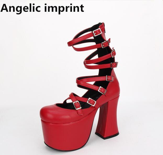 Angelic imprint mori girl lolita shoes woman cosplay punk shoes lady low heels wedges Pumps women