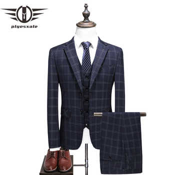 Plyesxale Elegant Plaid Suit Men 2018 High Quality Groom Wedding Tuxedo Jacket With Pants Slim Fit 3 Piece Business Wear Q379 - DISCOUNT ITEM  32% OFF All Category