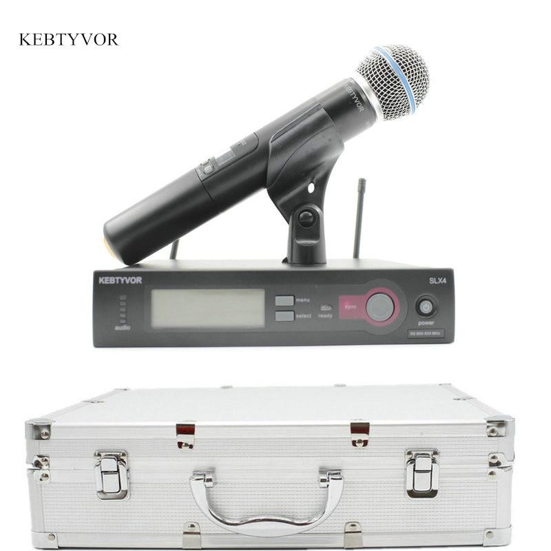 SLX24/BETA58 Hoge Kwaliteit Enkele Handheld Draadloze Microfoon UHF Vocal Microfone Systeem met 6 pin Handheld-in Microfoons van Consumentenelektronica op  Groep 1