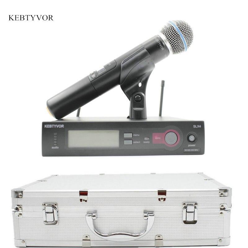SLX24/BETA58 Microphone sans fil à main unique de haute qualité système de Microfone vocale UHF avec ordinateur de poche à 6 broches