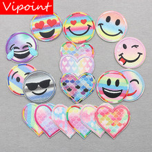 VIPOINT embroidery smile patches love heart badges applique for clothing XW-107