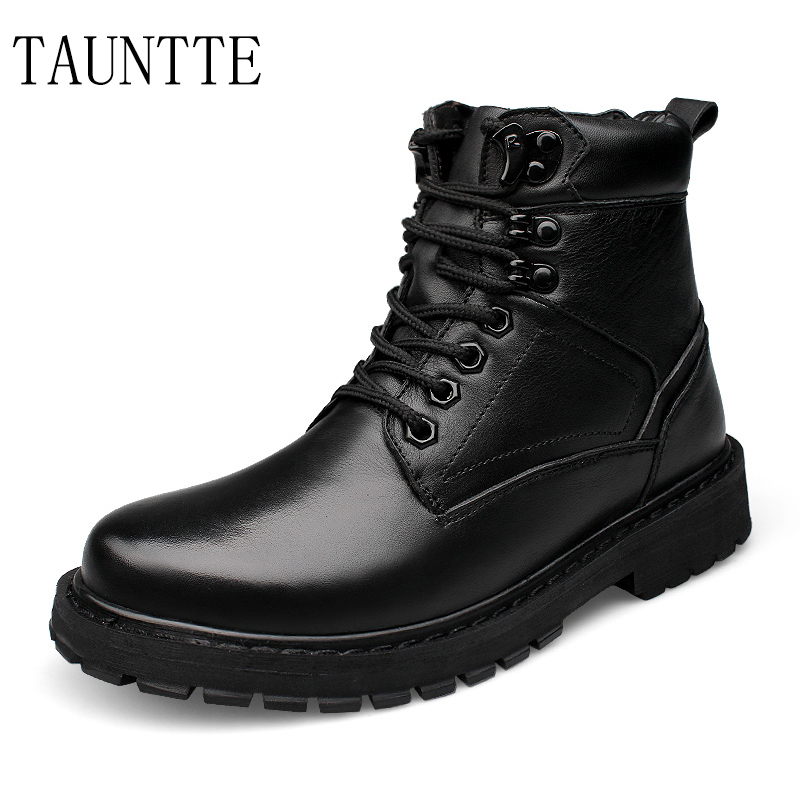 Tauntte Motorcycle-Boots Genuine-Leather Martin Plush Winter Fashion Ankle Men Keep-Warm