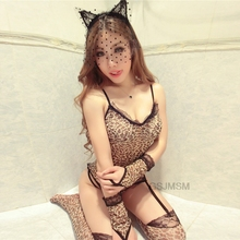 Nightdress Womens Sexy  Sling Lace Leopard Sleepwear Lingerie Nightwear Underwear Lingerie Nightgown Chemise women lingerie sleepwear femme sexy lace silk underwear lingerie sleepwear nightdress robe dress