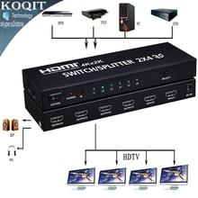 4 k * 2 k hdmi 2×4 matrice + audio extractor hdmi commutateur splitter convertisseur adaptateur Avec Télécommande 2 en 4 out 4 K 3D 1080 p v1.4