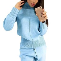 Women Winter Woolen And Cashmere Knitted Warm Suit Turtleneck Sweater Cashmere Pants Loose Two Piece Set Knit