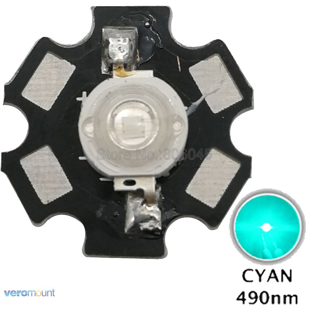 10PCS 3W Cyan <font><b>490NM</b></font> - 495NM High Power LED Bead Emitter Epileds 45Mil with 20mm Star Platine Heatsink image