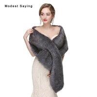 Elegant Grey Faux Fur Wedding Wraps 2017 Formal Fur Bridal Shawls Women Coats Winter Fur Warm