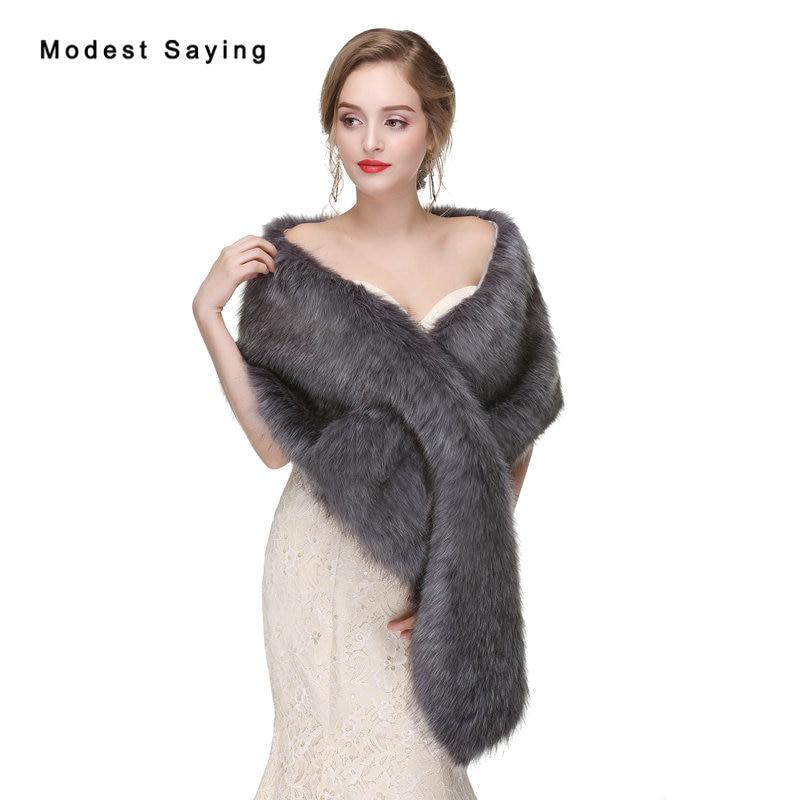 Elegant Grey Faux Fur Wedding Wraps 2017 Formal Fur Bridal Shawls Women Coats Winter Fur Warm Scarives Long Hair Wedding Boleros
