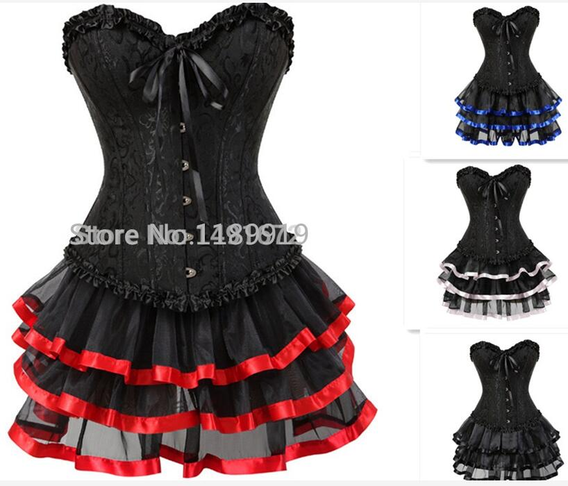 plus size 6XL burlesque corsets dress with skirt costumes vintage striped floral lace up corset bustier tank top for women