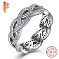 Luxury Real 925 Sterling Silver Rings Eternity Sparkling BRAIDED Pave Crystal Finger Ring for Women Wedding Twisted Jewelry