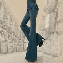Бесплатная Доставка 2017 Новая Мода Длинные Джинсы Брюки Для Женщин Flare Брюки Плюс Размер XXL Джинсовой Женщин Летом И Весной европейский