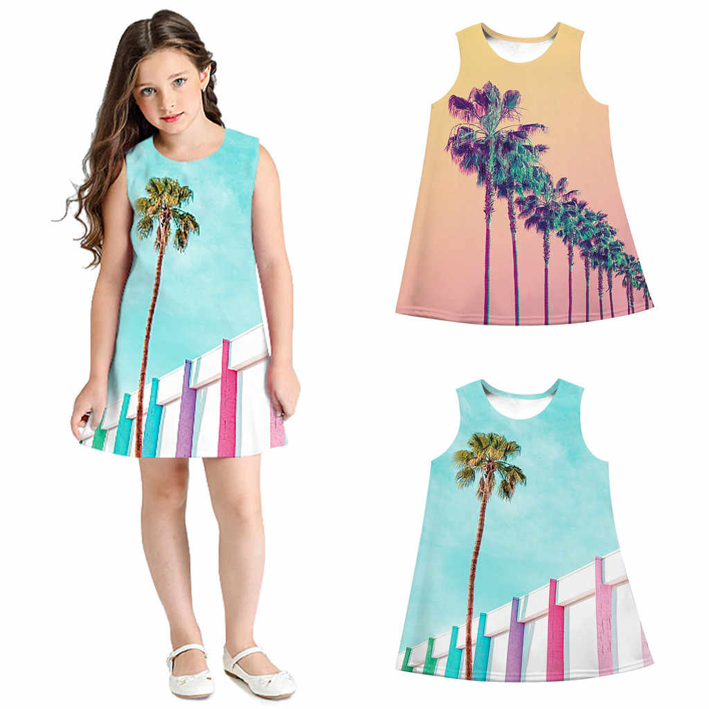 Платье для девочек Детские платья для девочек, vestido, подростковое платье для детей девочек без рукавов с объемным рисунком из мультфильма повседневная одежда