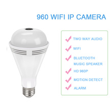 2pcs IP Camera Bulb 360 Panoramic 960P Light Camera HD Bluetooth Music Speaker WIFI LED Lights Colorful Night Vision Security