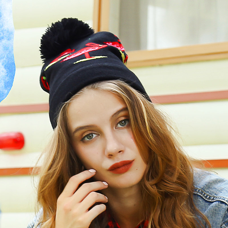 Fashion Flamingo   Beanies   Flamingo Hats   Skullies     Beanies   for Girls Knitted Plush Thick Warm Cap Knitted Animal   Beanies   for Ladies