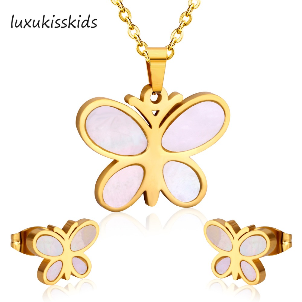 LUXUKISSKIDS Trendy Style Stainless Steel Set Shell Jewelry Sets Charm Butterfly Pendant Necklace Earring For Women