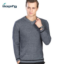 2017 New 100% Cashmere Winter Men Sweater Male Thick Warm V-Neck Pullver Men Knitted Sweater Comfortable PQ078