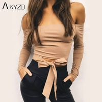 AKYZO Sexy Solid Strapless Tank Tops 2018 Summer Women Khaki Cute Bow Tie Casual Female Short